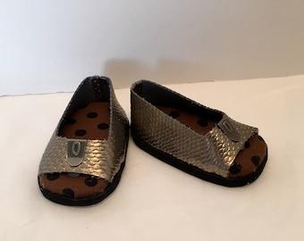 """DF22- 18"""" Maplelea doll shoes -  metallic peep toe shoes"""