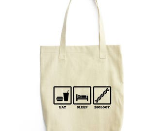 Eat Sleep Biology funny tote bag