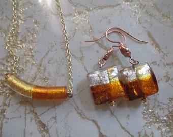 Autumn Murano Glass Curved Tube Glass Necklace Fall Jewelry Harvest Necklace Set
