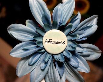 Feminist Flower Hair Clip in Blue
