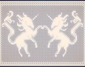 Filet Crochet pattern 'Dancing Unicorns', instant download pdf.