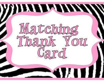 Matching Fillable or Pre-printed Personalized Printable Digital Birthday Party Thank You Cards