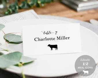 Wedding Place Card Printable, Place Card Template, Meal Choice Selection, Table Number Name Card Seating Card Instant Download PDF #SPP051pc