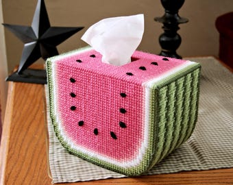 PATTERN: Watermelon Tissue Box Cover in Plastic Canvas