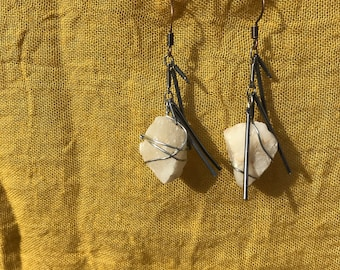 Earrings made of repurposed necklace links and quartz