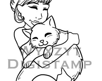 Cute girl and cat cuddling/digistamp/instant download/coloring page