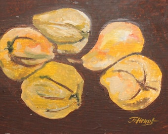 Impressionist still life with fruits vintage oil painting signed