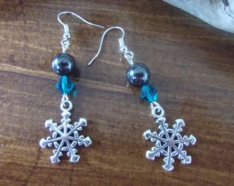 Snowflake, hematite and turquoise bead earrings