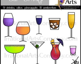 Party Time Bar Drinks INSTANT DOWNLOAD Digital Graphics 22 png files