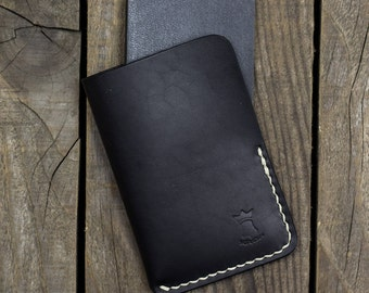 Moleskine Leather Cover, Leather Sleeve, Volant XS, Pocket size, Journal cover, Travel notebook, Sleeve, Full grain leather, EDC, Black