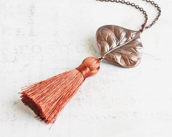 Rusty Orange Necklace, Long Tassel Necklace, Antiqued Copper Leaf Necklace, Autumn Jewelry