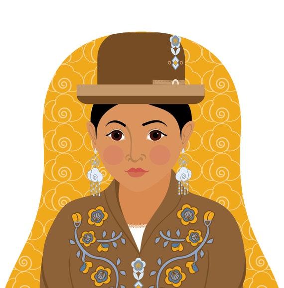 Bolivian, Aymara Doll Art Print, traditional dress, matryoshka