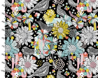 Birds Flowers Black Blue Yellow Pink Jenean Morrison Summer Skies Floral Lead in Black for 3 Wishes Fabric
