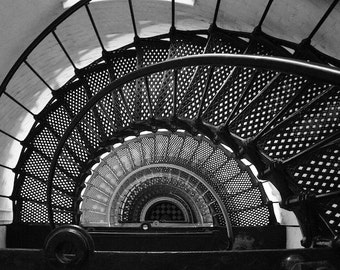 Spiral Staircase Photo, Black and White Photography, Lighthouse Photography, St. Augustine Lighthouse, Architecture Art