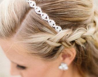 Bridal Wedding Special Event Rhinestone Crystal Headpiece Headband Ribbon Gold  or Silver Finish