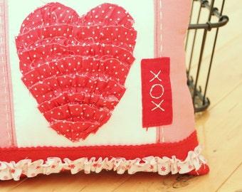 Ruffled Valentine Heart Pillow XOX