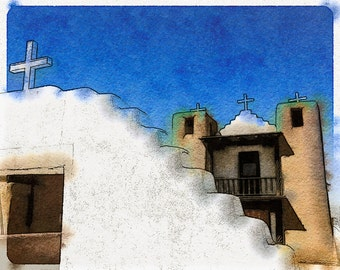 Taos Pueblo Mission Church: Photo Watercolor Art of the Famous Catholic  Mission Outside Taos, New Mexico