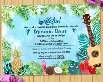 Watercolor Hawaiian Luau Party Invitation; Birthday Party, Bridal Shower, Printable, Evite or Printed (US Only) Invitation