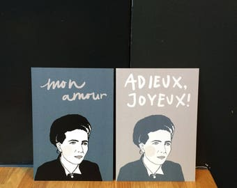 Simone de Beauvoir set (Illustrated Literary Postcards & Prints: Writers)