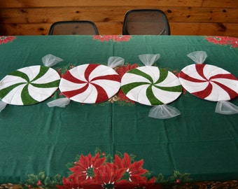 "Peppermint Twister Christmas or all occasion candy table runner or placemat set options enjoy the season or choose your own 55 1/2""X13"""