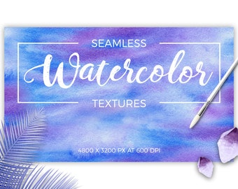 Watercolor Seamless Hand Drawn Textures, clipart, high quality, hand painted, watercolor digital paper, tileable, printable,