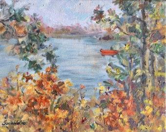 """Aspens Birches Landscape  Painting Original Painting 11 x 14"""""""