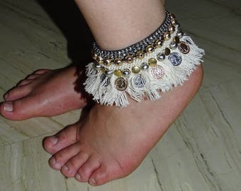 Hand Embroidered Cuff Anklet / Anklet / Cuff Anklet / Boho Anklet / Boho / Natural and Gold Anklet / Bohemian Jewelry / Designer Anklets