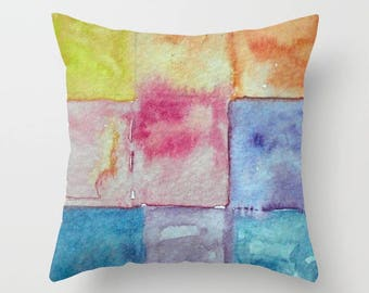 WATERCOLOR Tiles, Abstract, Squares, Tiles, Mosaic, Rainbow, Watercolor Art, Kitchen, throw pillow, ART pillow, home decor, Alicia Hayes Art