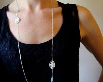 Long loop necklace in sterling silver with cast vintage lace and aquamarine accents