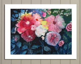 Abstract Flowers, Contemporary Art, Large Print of Original, Abstract Art, Large Poster Size, Modern art