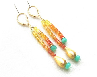 Jaune et Orange saphir Dangle Earrings avec Chrysoprase et or 14k Vermeil