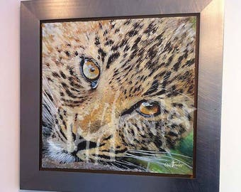 Leopard wildlife painting, leopard fine art print, wildlife print on canvas, wild cat painting, your own custom painting