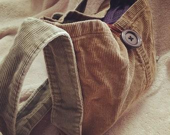 Upcycled corduroy crossbody bag
