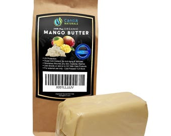 Raw Mango Butter Organic Unrefined - Use Alone or in DIY Beauty Products, Body Butter, Lip Conditioner, DIY Lotion - 1LB Bar