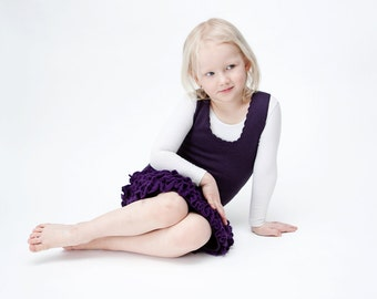 Children clothing - spring knitted ruffle dress in dark lilac,purple colour. Fits for 5-7y old girl. READY TO SHIP