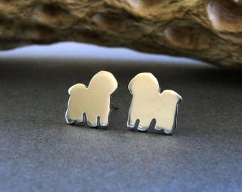 Bichon Frise post earrings. Tiny dog studs silhouette jewelry. Sterling silver, 14k gold filled or solid yellow gold Rescue Dog gift