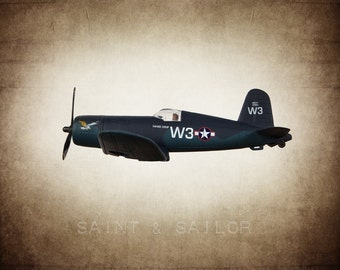 Vintage WWII F4 Corsair on Vintage Brown Background, Photo Print, Boys Room, Boys Nursery Decor, Airplane Room