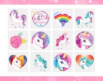 12 x Unicorn Tattoos   Unicorn Temporary Tattoos   Unicorn Party Bag Fillers   Childrens Loot Bag Filler Girls Birthday