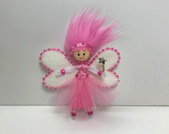 Pink Fairy Doll with Removable Wings and Skirt, Little Fairy Doll, Little Doll with Clothes, Plane Travel Doll Toy, Fairy Doll, Fairies