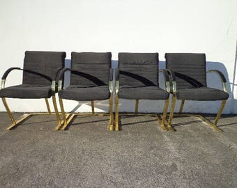 4 Chairs Armchairs Milo Baughman Style Gold Brass Metal Mid Century Modern MCM Hollywood Regency MCM Dining Retro Vintage Chair Seating