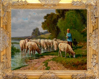 Fab Sheep Art Print, Framed in Ornate Frame, Print on Canvas