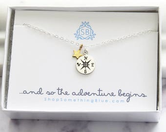 Graduation Gift • Moving Gift • Compass & Star Charm Necklace • College Graduation • Grad Gift • Gift Idea • Compass Necklace • BFF Gift