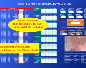 World Cup 2018 Wall Poster (EST) and FREE Excel Score Chart