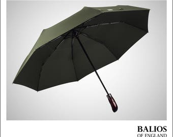 Designed in Britain - Balios® Travel Umbrella— Handmade Real Wood Handle—Auto Open & Close—Vented Windproof Double Canopy (OLIVE GREEN)