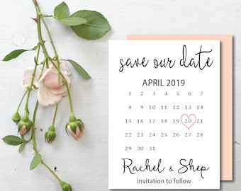 Save the Date calendar template save the date printable save