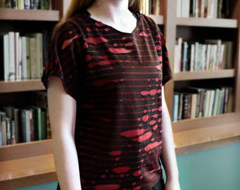 Semi Sheer T - Deconstructed / Torn - Black and Red double layer knit