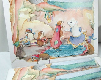 Snow White mouse card, greeting card,  everyday or birthday card, Fairytale art