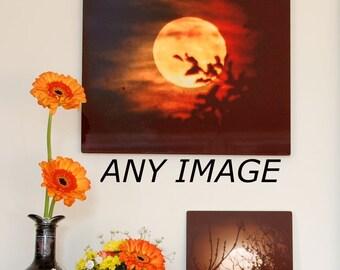 Metal panel, any image on aluminium, Moon Photograph on aluminum, night sk, high gloss dark colours wall art, full moon art, crescent moon