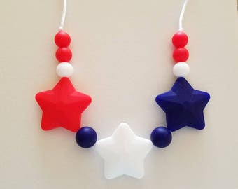 Red, White and Blue Silicone beaded Teething Necklace, July 4th, Teething Necklace for Mom, Sensory Beads, Teething Beads, Fidget Necklace