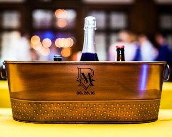 Personalized Copper Finish Galvanized Beverage Tub & Wine Bucket Gift for Weddings, Parties, Shower, Birthdays, Housewarming, Anniversary